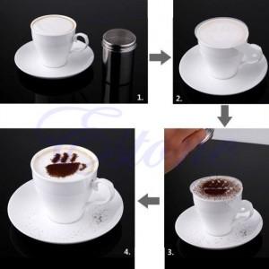 kaffee dekorieren schablonen anleitung