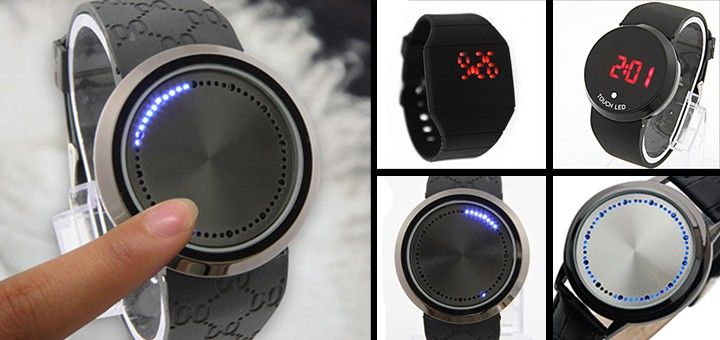 led armbanduhr led-uhr touch touchfunktion