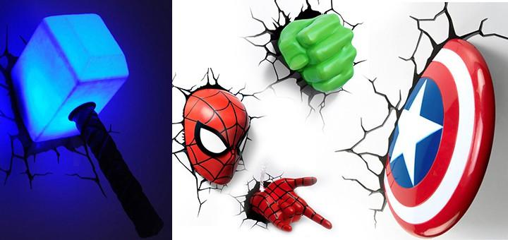marvel 3d deco lights thor cpt america hulk. Black Bedroom Furniture Sets. Home Design Ideas