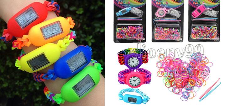 rainbow loom uhr armbanduhr selbst gestalten gadgets. Black Bedroom Furniture Sets. Home Design Ideas