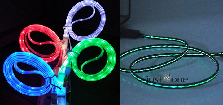 leuchtendes USB Kabel iphone micro usb galaxy s